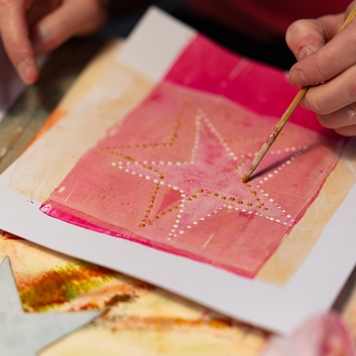 Workshop Malkurs Vielschichtig Impressionen Gelatinedruck